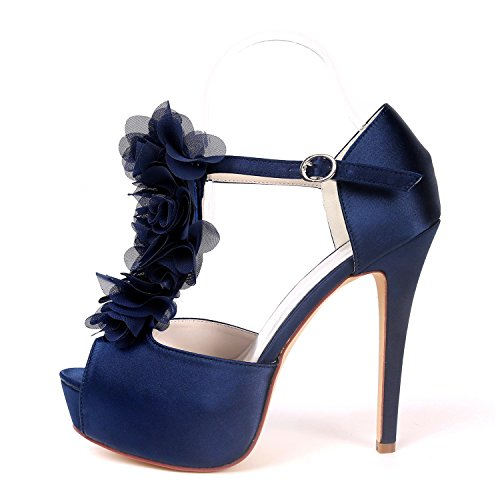 37H Ager Chaussures Cheville Soirée Toe EU37 Plate Cour Haute De UK4 Boucle Satin Flower De Forme 3128 Mariage Talon Femmes Deepblue Peep Courroie YdFEH