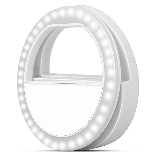 Selfie Ring Light Clip on Phone with 3-Level Brightness LED Light RIVERSONG Portable Selfie LED Light for iPhone Camera