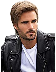 STfantasy Mens Brown Wig Short Wavy Straight Synthetic Hair for Male Cosplay Costume Party