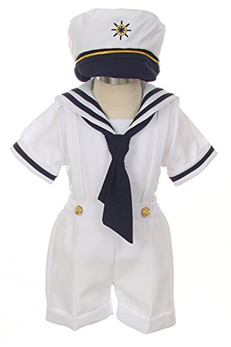 iGirldress Baby Toddler Boys Nautical Sailor Outfit Short Suit 4 Piece Set 3T White ()