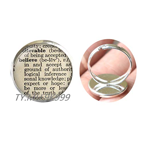 Yao0dianxku Believe Definition Ring Charming Dictionary Word Religious Gift Christian Finger Ring Trust Jewelry.Y218