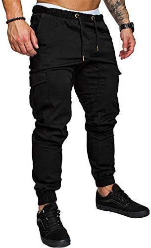 THWEI Men's Cargo Pants Slim Fit Casual Jogger Pant Chino Trousers Sweatpants