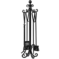 5 Pieces Scroll Fireplace Tools Set Blac...