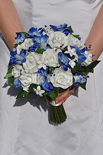 (Silk Blooms Ltd Artificial Galaxy Blue Singapore Orchid Wedding Bouquet w/Roses and Stephanotis)