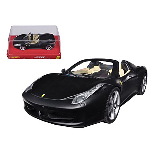Ferrari 458 Italia Spider Matt Black 1/24 Diecast Car Model by Hotwheels