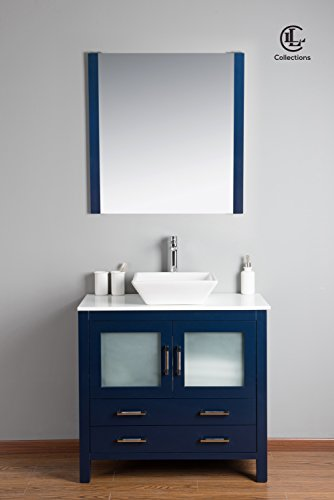 Newport 36″ Freestanding Vanity with Stone Top in Navy
