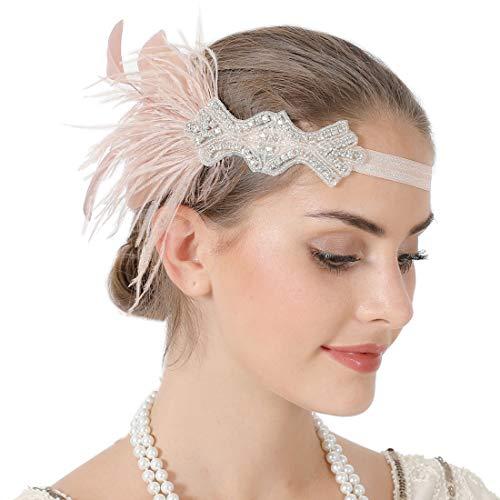 Sparkling Flapper Headband 1920s Art Deco Gatsby Feather Headpiece for Women (Pink) ()