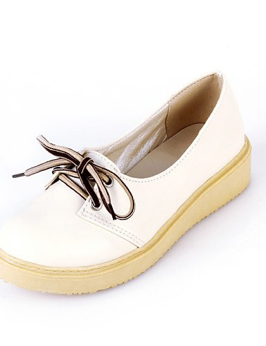 ZQ hug Zapatos de mujer - Tacón Bajo - Punta Redonda - Oxfords - Casual - Semicuero - Azul / Amarillo / Rosa / Beige , beige-us6.5-7 / eu37 / uk4.5-5 / cn37 , beige-us6.5-7 / eu37 / uk4.5-5 / cn37 yellow-us6 / eu36 / uk4 / cn36