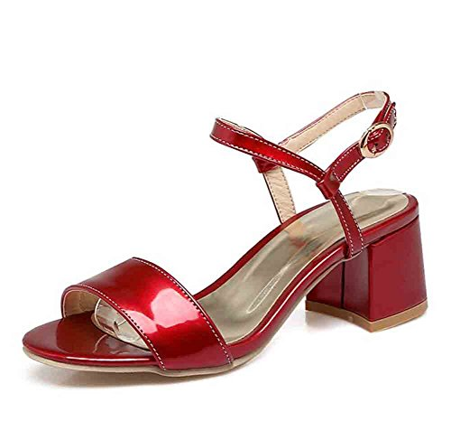 Easemax Women's Sexy Patent Buckle Straps Open Toe Slingback Mid Chunky Heel Sandals Red 11.5 B(M) US ()