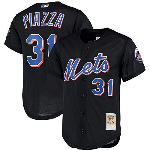 Mens #31 Mike Piazza New York Mets Big & Tall Cooperstown Collection Mesh Button-Up Jersey- Black L