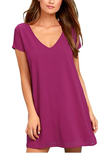 Tunic Beaded Net (BomDeals Women's Spring Shift Dress, Cute Summer Short Sleeve V Neck Long Tunic Dress(Magenta,S))