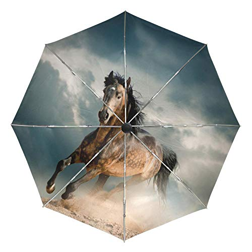 (White Horse Running Portable Folding Rain and Sun Beach Umbrellas Hat Unique Parasol Automatic Umbrella with Outer Black Coating,Item 7)