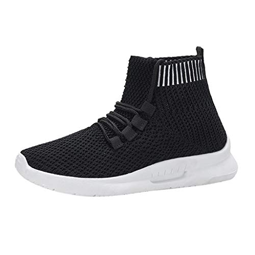 High Top Bike Sock - Women High Top Sneakers, Walking Flat Running Socks Shoes Fashion Mesh Elastic Athletic Gym Casual Shoes (7.5 M US, Black)