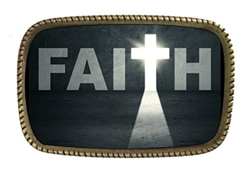 Religious Faith Jesus Christ Brass Belt Buckle Full Color Design (Faith Buckle)