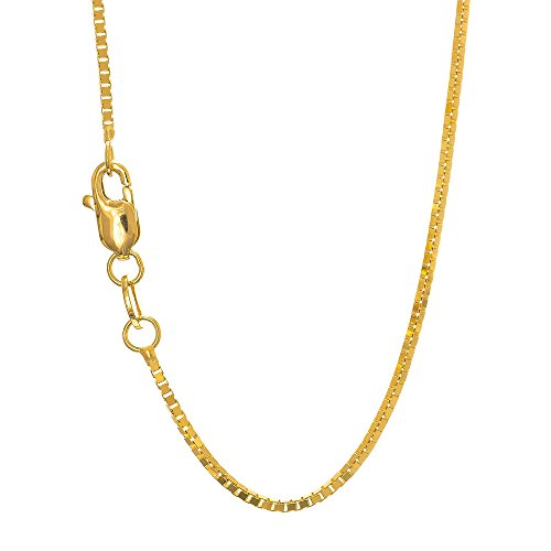10k Gold 18' Chain - JewelStop 10k Solid Yellow Gold 0.45mm Box Chain Necklace, Lobster Claw - 18''