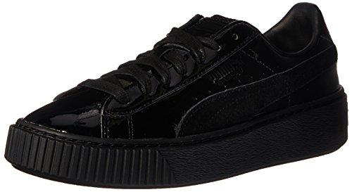 PUMA Women's Basket Platform Patent Fashion Sneaker, Puma Black-Puma Black, 8.5 M US