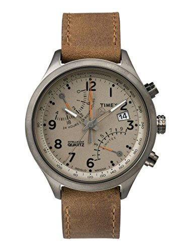 (TIMEX NEW intelligent Quartz flyback chronograph 43mm gun metal finish case taupe dial brown strap TW2P78900 Men)