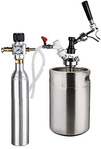 SISHUINIANHUA Barril De Cerveza 5L, Presurizado Mini Kit Growler con 90 PSI Co2 Cargador Y 0,6 L De CO2 Botella De Gaseosa Cilindro, U.S. Standard Grifo Dispensador De Cerveza