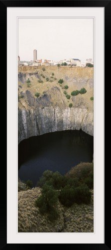 "GreatBIGCanvas ""Open Pit Mine with A City In The Background Big Hole Kimberley Northern Cape Province South Africa"" Photographic Print with black Frame, 17"" X 48"""""