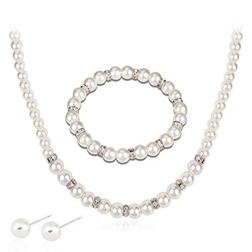 Ezing Fashion Jewelry Simulated White Pearl Necklace Earrings Set Bracelet (c)