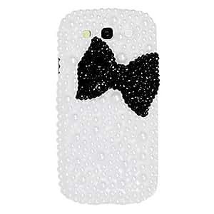 comprar Caso duro del patrón del Bowknot negro con diamantes de imitación para el Samsung Galaxy S3 I9300