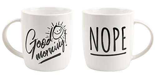 Good morning / Nope! Funny two sided 12oz ceramic coffee mug, stoneware, novelty gift, perfect for friends, family and co-workers, microwave and dishwasher safe (Mug Sided Coffee)