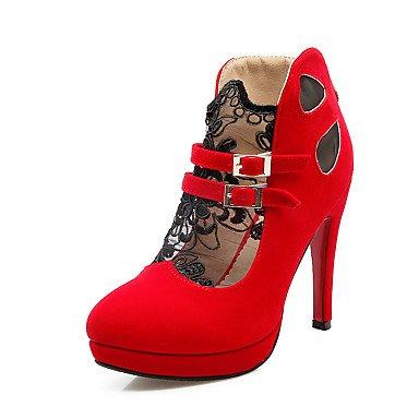 Talones de las mujeres Primavera Verano Otoño Otro PU ocasional de tacón de aguja de costura roja del cordón Negro Black