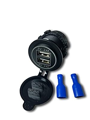 4.8 AMPS Blue-Fast Dual USB Socket Charger W/V-Meter for Boats, Polaris RZR 900, RZR 1000, Ranger, Mobile Home, RV, Can Am Spyders,
