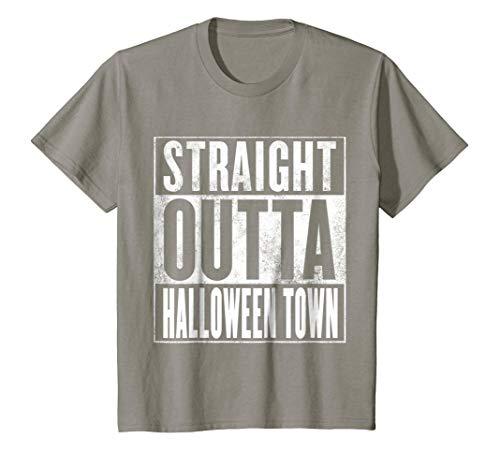 Kids Halloween Town T-Shirt - STRAIGHT OUTTA HALLOWEEN TOWN Shirt 6 Slate -
