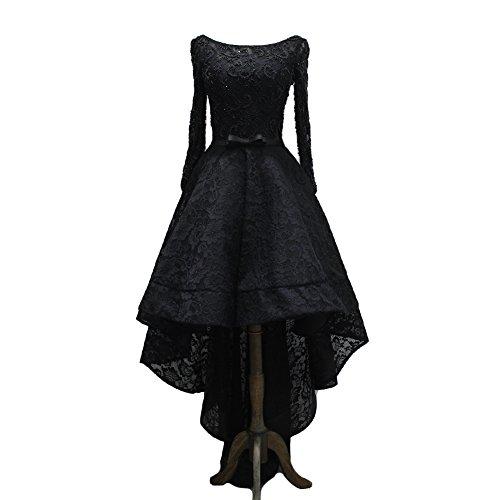 Kivary? Vintage Long Sleeves Sash High Low Black Lace Bea...