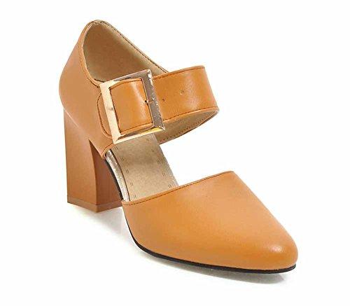 de de 48 Amarillo Hebilla del la 31 Correa Mujeres D'orsay la de Talón Las Alto de Corte Sandalias Estrecha de SHINIK Tamaño Punta Zapatos Forman 5g4H4x