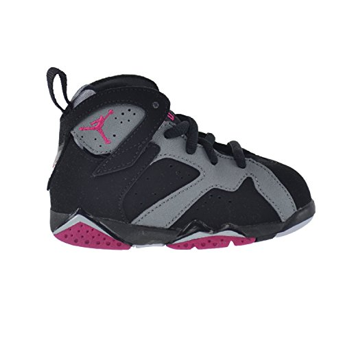 Jordan 7 Retro GT Infant Toddlers Baby Shoes Black/Sport Fuchsia-Clay Grey 705418-008 (10 M US)
