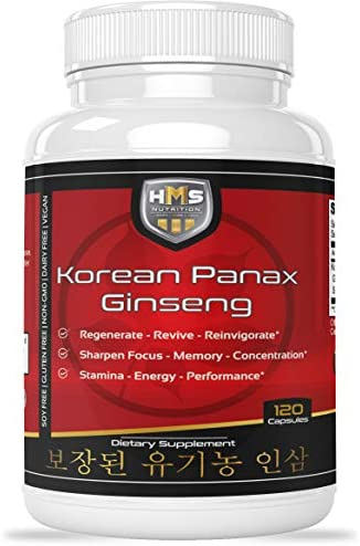 Certified Organic 2000mg Korean Red Panax Ginseng 120 Vegan Capsules Super Strength Extract Powder Supplement – High Ginsenosides Supports Energy, Stamina, Performance and Mental Health
