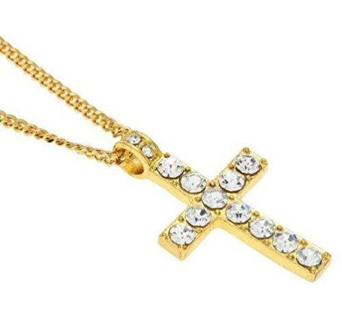(Hip Hop Men Women Jewelry Laimeng Bling Rhinestone Crystal Cross Pendant Necklace (Gold))