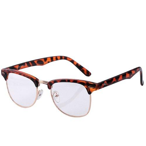 Top Plaza Cool Retro Vintage Unisex Mens Womens Clear Lens Trendy Rock Eyewear Glasses Leopard
