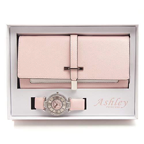 (Women's Essentials - Matching Women's Watch & Colorful 2 Layer Design Wallet Gift Set - ST10234 Blush)