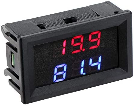 Car Voltage Fahrenheit Temp Display Meter DC 5V-80V 12V 24V 36V 48V 60V 72V LED Auto Battery Volt Tester Thermometer Monitor with 1 Meter Sensor Probe DROK Voltmeter Temperature Gauge