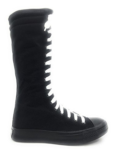 flat Women Shoes Black Lace New Punk Skatter Fasion High laces Knee Sneakers White up Canvas xqx5w4CR
