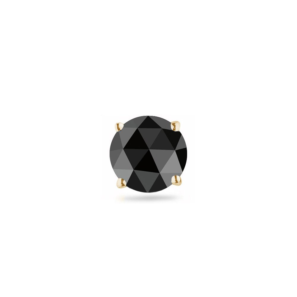 0.31-0.38 Cts of 4.40-5.40 mm Round Rose Cut AA Black Diamond Mens Stud Earring in 18K Yellow Gold-Screw Backs