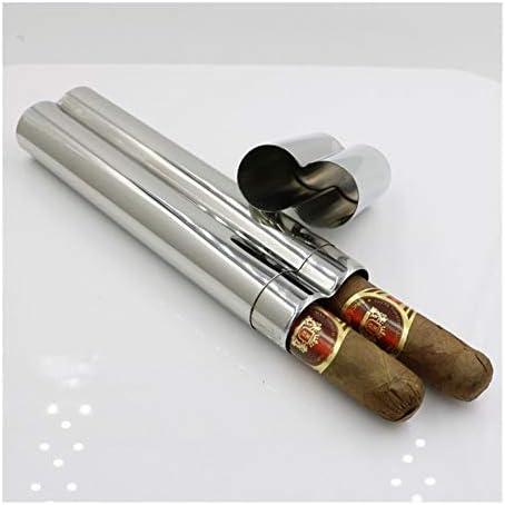 Solide RVS Cigar Tube Storage Case Portable tabakssigaretten Holder Portable Sigaaraccessoires uitstekend ColorSilver