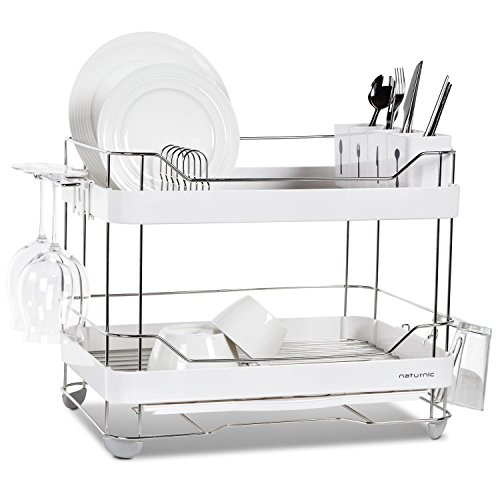 2 Tier Wide Kitchen Sinkware Dish Rack, Dish Drying rack, Stainless Steel, Large