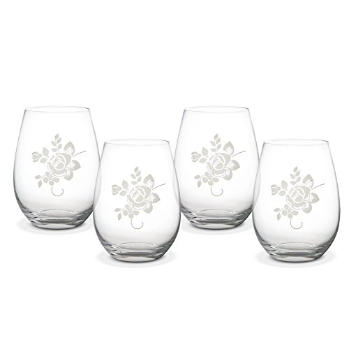 Pfaltzgraff Tea Rose All-Purpose Stemless Wine Glass (20 Ounce, Set of (Etched Scalloped Glass)