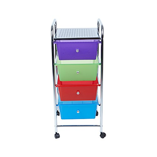 Mind Reader Rolling Storage Cart and Organizer with 4 Plastic Drawers by Mind Reader