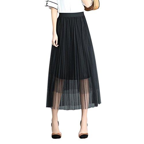 Mariage CHENYANG Soire pour Jupe Haute Taille Femme Jupe Maxi Longue Noir Tulle xArnw0Aqf