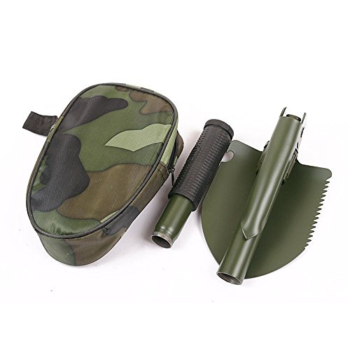 CHUANGKE Foldable Trench Shovel As Knives & Entrenching Tools , Portable & Foldable Emergency Survival Spade with Pick,Compass,Saw for Gardening, Camping, Hiking, Snow Shovels & Backpacking