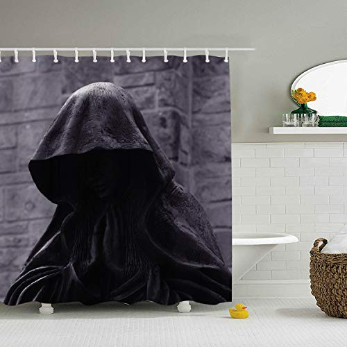 Decorative Mantle Hood - shunshunfeng Custom Shower Curtain Sculpture Hood Mantle Dark Angel Extra Long Bathroom Curtains for Housewarming Gift