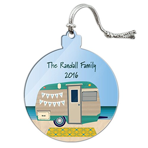 Graphics and More Personalized Custom Happy Camper Trailer Beach Camping Family Acrylic Christmas Tree Holiday - Trailers Christmas Happy