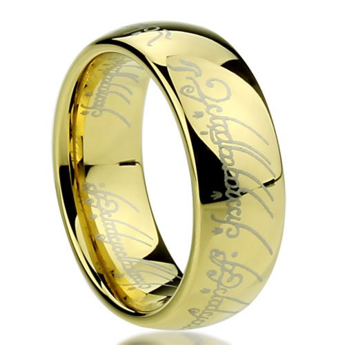 8MM Titanium Comfort Fit Wedding Band Laser Etched Old Letter Pattern Lord Rings ( Size 6 to 14 ), 10