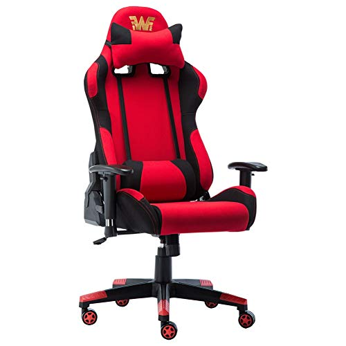 Racing Style Fabirc Gaming Chair Breathable Ergonomic Office Computer Chair with Lumbar Support and Headrest Red and Black