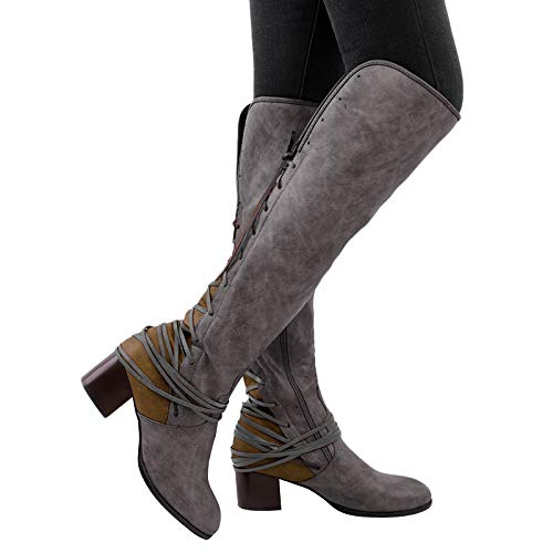 VANDIMI Wide Calf Knee High Boots for Women Winter Fashion Low Block Heel Shoes Over The Knee Booties Zipper Side